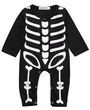 Halloween Nouveau-Né Bébé Garçon Fille Squelette Barboteuses À Manches  Longues Salopette Vêtements Outfit Costume cosplay 533780cb1e9