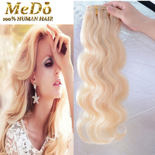 Full Head Light Blonde  Clip In Human hair Extensions Blonde Brazilian Wavy Human Hair Clip Ins 14-26  Blonde Clip in Human Hair