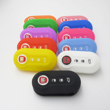 3 Button Car Silicone Key Cover Fob Case for FIAT 500 500L ABARTH Panda Punto Bravo + LOGO car  cover 1pcs/lots
