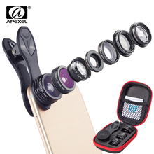 APEXEL 7 in 1 Phone Lens Kit Fisheye fish eye super Wide Angle macro Lens CPL Filter Kaleidoscope and 2X zoom Lens forsmartphone