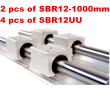 Free shipping SBR12 linear guide :2pcs SBR12-L1000mm Linear guide + 4pcs SBR12UU Linear Bearing Blocks (can be cut any length)(China)