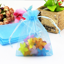 50pcs/lot Light Blue Color Big Wedding Christmas Gift Bags Candy Jewelry Packaging Organza Bags & Pouches