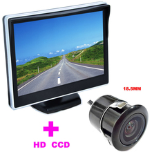 "18.5mm Car Rearview Camera HD 170 Angle car backup camera 2 in 1 Auto Parking Assistance System 5"" TFT LCD Car mirror Monitor"