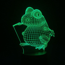 3D Visual Night Lamp Battery Powered Nightlights Frog Touch Switch LED Baby Veilleuse Lampe Enfant Baby Room Bedside Luminaria