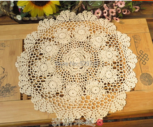 Handmade Crochet Flowers White and Beige color Round Diameter 35CM Tablecloths Hollow Doilies Table cloth Cotton Cover cloth