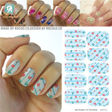 Rocooart KG017A Water Transfer Foils Nail Art Sticker Colored Love Heart Manicure Wraps Decor Decals Minx Nail Polish Stickers(China)
