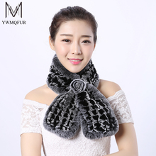 YWMQFUR Russia Hot 2017 winter new knitted Rex rabbit fur scarf for women small square shawl cloak fur scarf lady scarves S07