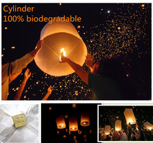 Cylinder shape 6pcs/lot ellipse sky lantern biodegradable flying Chinese lantern wedding/ party decorations free shipping