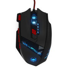 Realiable gaming mouse mouse gamer ZELOTES 8000 DPI 8 Key Memory Chips Design 6 Optical LED Wired Game Mouse