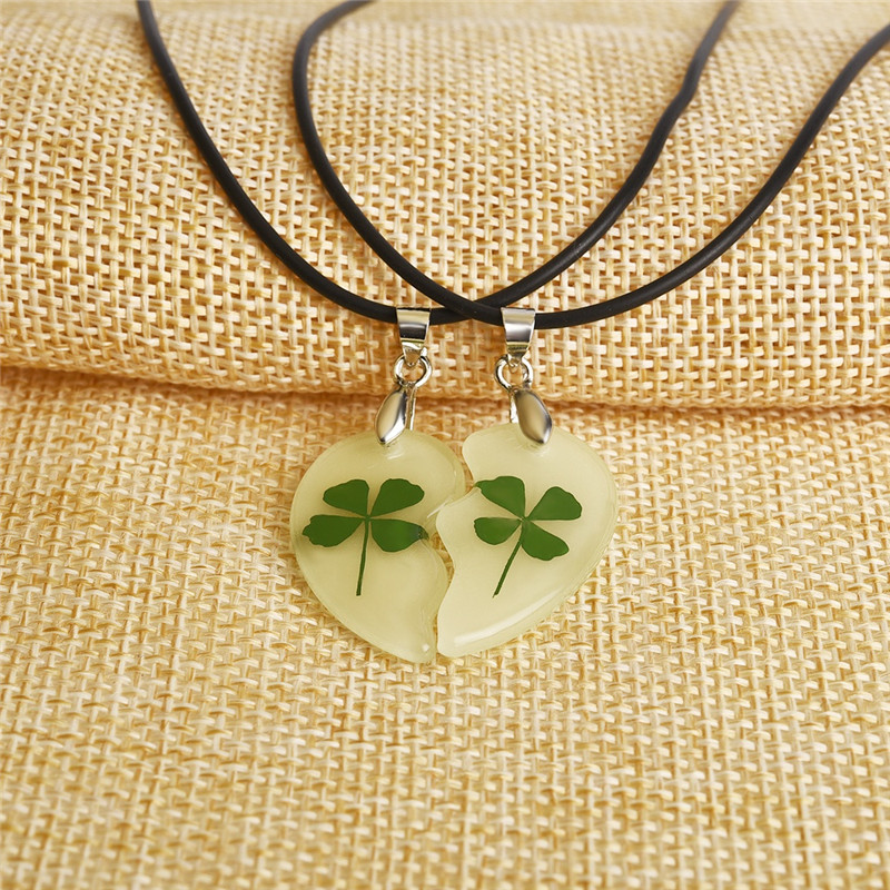 Luminous Clovers in Heart Shape Pendant Couple's Necklace