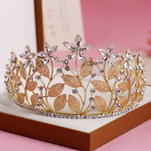 Unique Vintage Alloy Crystal Bridal Tiaras Crown Gold Silver Clear Rhinestone Leaf Wedding Headband Hair Jewelry Accessories(China)