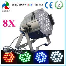 8pcs/lot 18x10W led par/led par 64/par led 10w rgbw free shipping(China)