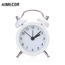 Aimecor Alarm clock Twin Bell Silent Alloy Stainless Metal Antique Style u71017(China)