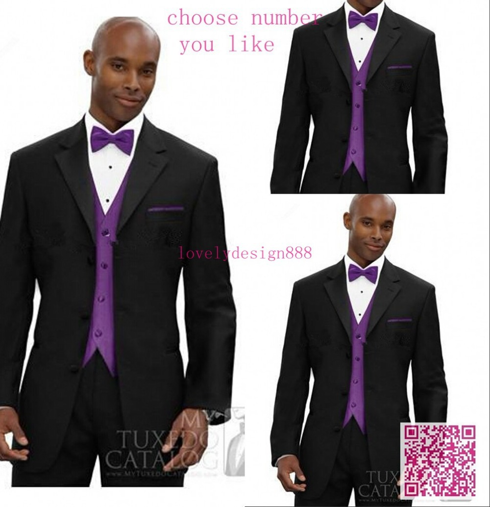 New Design 4 pics Men's Suit Men business Dress wedding Black men's slim clothing 2 Buttons Groom Suit(Jacket+Pants+Tie+Vest)