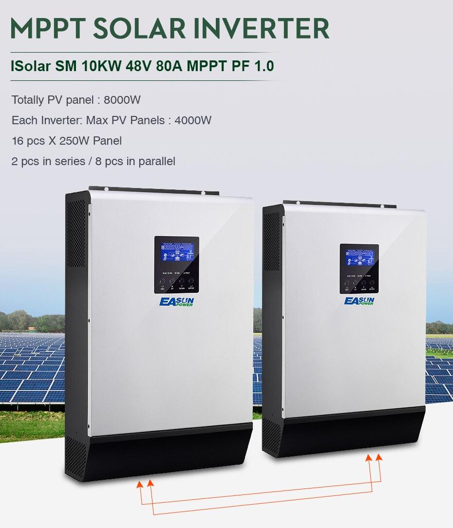 EASUN POWER 10KW Solar Inverter 80A MPPT Off Grid Inverter 48V 220V Pure Sine Wave Hybrid Inverter With 60A Battery Charger01