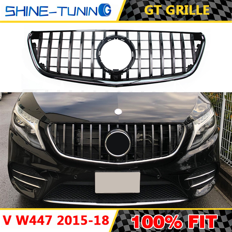 GT GTR Grill Front Grille for Mercedes Benz V class W447 V260 fit Camera 2015+