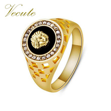 Fashion Gold Color Crystal Superhero Black Hiphop Medusa Men Ring Cool Man Male Finger Ring Animal Anel masculino bague homme