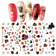1Pc Ultrathin Adhesive 3D Nail Art Sticker Cute Funny Halloween Theme Design Nails Decal Decoration For Kids Nails Manicure Tool(China)