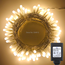 UL Corded 10M 30M 100/300LED PVC Wire Warm White LED String Rope Lights Christmas Holiday Strip Starry Lights, 8 Mode + Adapter