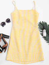 ZAN.STYLE Women Back Bowknot Cut Out Plaid Mini Dress Sweet Girl Halter Sleeveless Hollow Out Zipper Straight Dress Vestidos New(China)