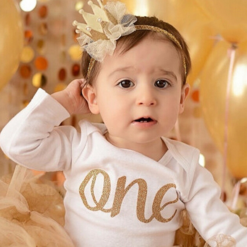 Newborn Crown Headband Gold Princess Crown Baby Girls Cute Hair Band Children Photo Props  Infant Kids Hair Accessories 1 Pc