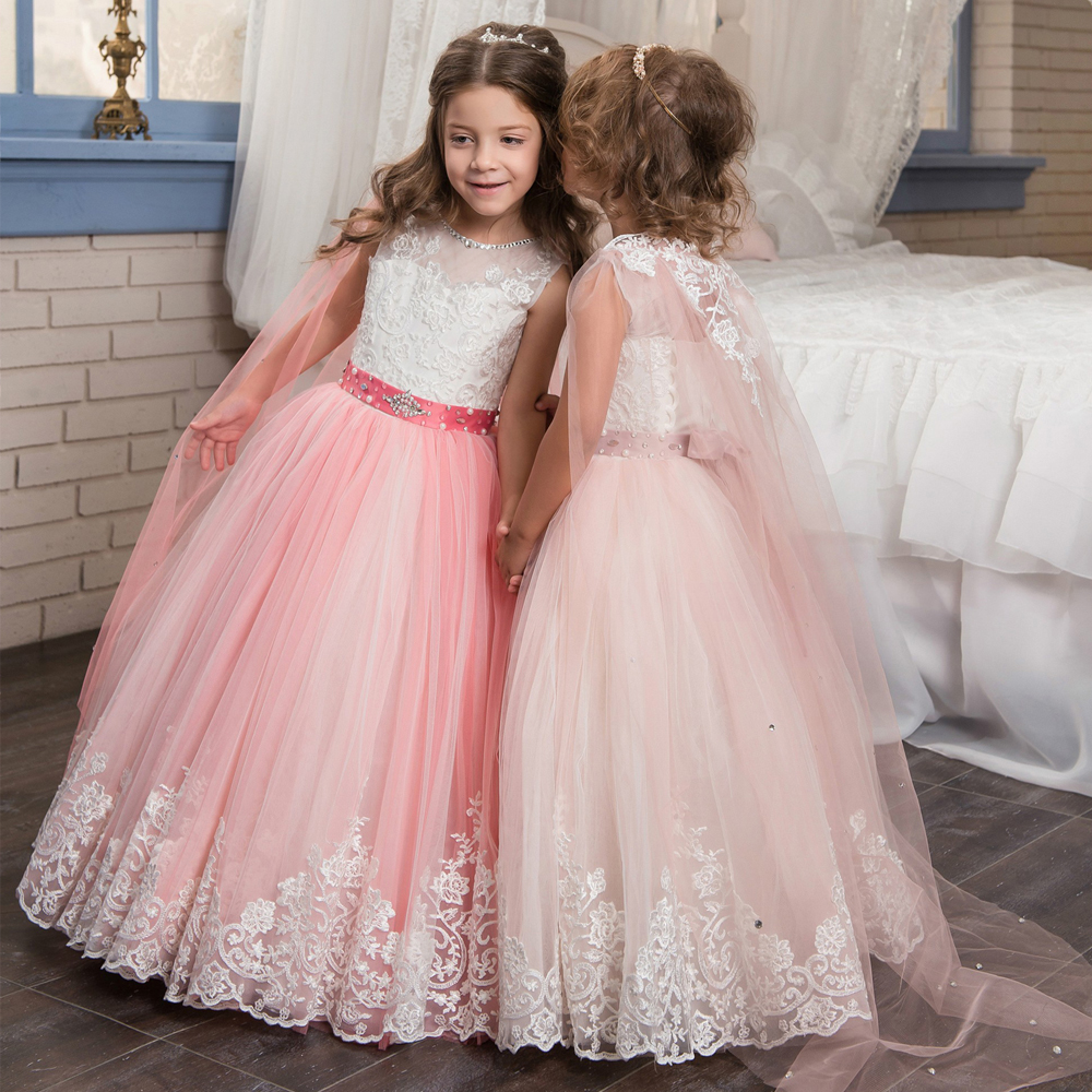 Fancy Flower Girl Dresses Lace Appliques Ruffles Beading Lace Up Little Girl Bridesmaid Wedding Dresses Trailer Tulle Ball Gowns<br><br>Aliexpress