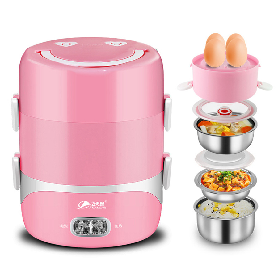 Mini Cooker 3 Layers Potable Electrical Heating Bento Box Picnic Lunch Cabinet Keep Wram Food Container Mini Cooker For 1-2 man<br>