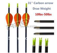 "Free EMS shipping+31"" 400 spine archery hunting 100% carbon fiber arrow 24pieces/lot(China)"
