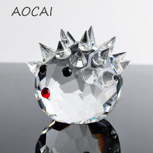 Cute Glass Crystal Hedgehogs Figurines Paperweight Crafts Art&Collection Table Car Ornaments Souvenir Home Decor Wedding Gifts