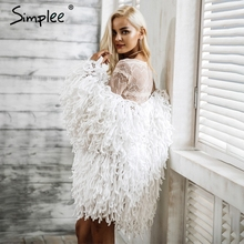 Simplee Warm knitting shaggy jacket coat Women sweater soft black female overcoat Autumn winter hairy faux fur coat cardigan
