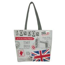 1 PC Fashion London Style Print Custom Vintage reusable foldable Shopping Bag Oxford cloth handbag shoulder tote bags