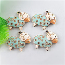 Cute 5pcs Sky Blue Enamel Sheep Charms For Jewelry Making Necklace Bracelet Accessory Handmade Crafts Fashion Jewelry diy 51647(China)