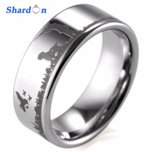 SHARDON 8mm wedding band comfort fit Tungsten ring engagement jewelry IP black plated Out door hunting ring engagement rings(China)