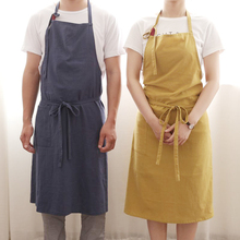 New Aprons Simple Washed Cotton Korean Style Uniform Unisex Adult Aprons for Woman Men's Male Lady's Kitchen Cooking Pinafores(China)