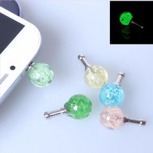 10pcs 3.5mm Crystal Night Light Balls Anti Dust Plug For iPhone Samsung Earphone Jack Plugs Cell Phone Headphones Accessories
