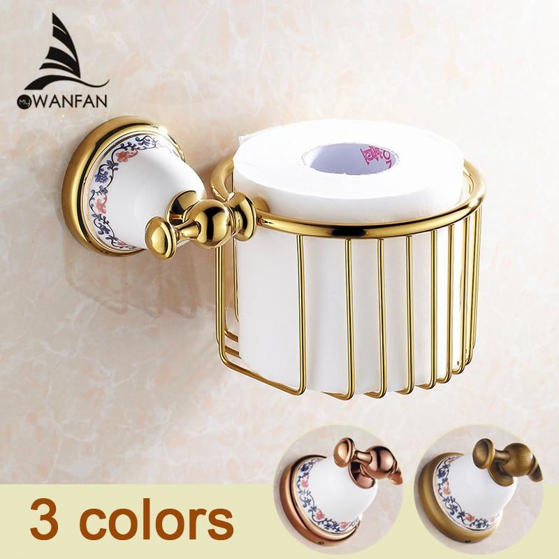 Bathroom Accessories Golden Paper Towel Basket Full Copper Toilet Paper Box Toilet Tissue Box Waterproof Toilet Paper Holder3319<br>