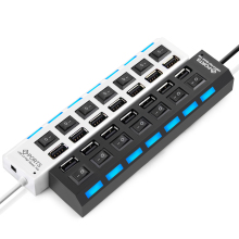 7 Ports High Speed USB Hub 480 Mbps USB 2.0 Hub On/Off Switch Hub USB Splitter For PC Laptop Computer Peripherals Accessories(China)