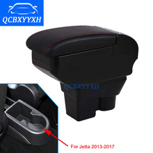 Leather Cover For VW jetta 2013-2017 Armrest Box Central Store Content Box Cup Holder Interior Car-styling Products Accessory