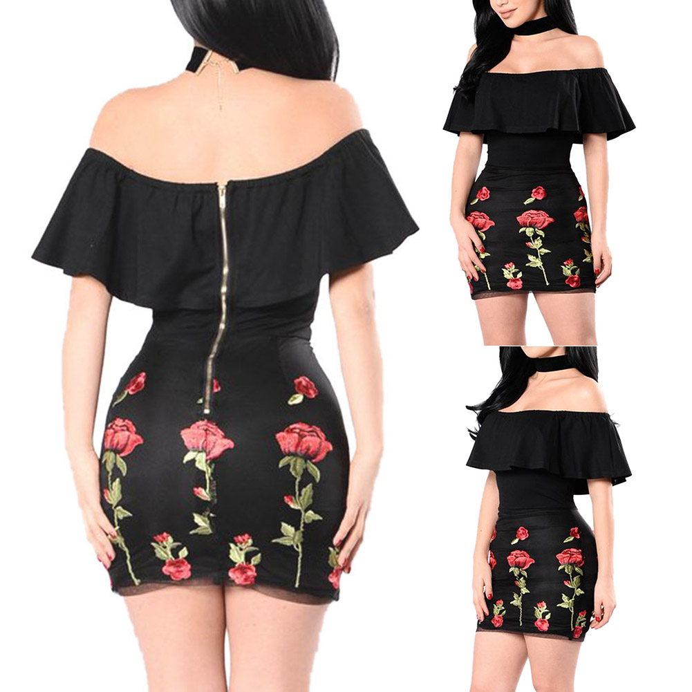 Dresses from ross - Ruffles Design Off The Shoulder Slash Neck Dress Ross Flower Embroidery Sexy Strapless Mini Dress Party