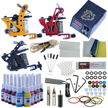 Professional Tattoo Kits 20 Ink Set Complete Set 3 Tattoo Machine Gun Lining And Shading Tattoo Inks Power Needles Tattoo Supply(China)