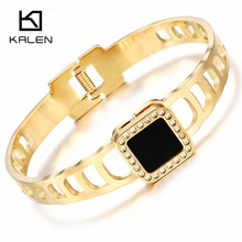 Kalen Trendy Cubic Zirconia Stainless Steel Pakistani Gold Color Bangle & Bracelet For Women Elegant Hinged Clasp Wristband 2017(China)