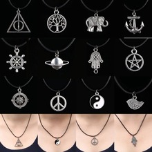 (12pcs) New 11 Styles Elephant Famliy Tree World Peace Logo Deathly Hallows Triangle Pendant Leather Necklace Statement Necklace(China)