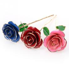 Valentine's Day Gift Gilded Rose Flowers for Girlfriend Gift Let Love Never Fade 3 Color for Choose(China)