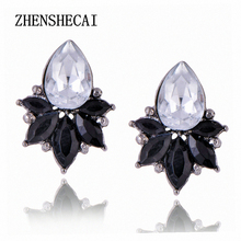 High Quality Crystal Stud Earrings For Women Round Rhinestone Drop Style e0223(China)