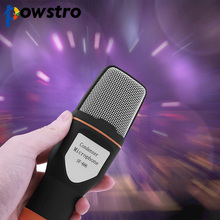 Powstro Condenser Tripod Clip Microphone Professional 3.5mm Stereo for Video Recording for Skype MSN Chatting Singing Karaoke(China)