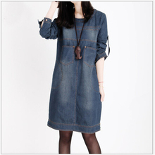 Women Clothing 2017 Spring New Big Size Jeans Dress Woman Vintage Long Sleeve Denim Dresses Women vestidos femininos L432