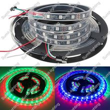 5M 12V 5050 SMD WS2811 IC 48LED/M Dream Color Digital LED Strip,10mm Black PCB, IP67 Silicone Waterproof, 16pcs ws2811 ic/meter