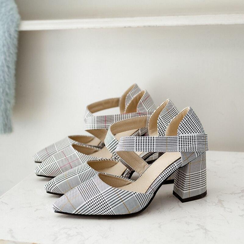 WETKISS High Heels Women Pumps Pointed Toe Plaid Hook Hoof Heels Footwear 2018 Brand Handmade Spring Fashion New Female Shoes