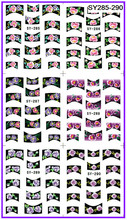 6 PACK/ LOT GLITTER POWDER WATER DECAL NAIL ART NAIL STICKER FRENCH SMILE LACE SY285-290(China)