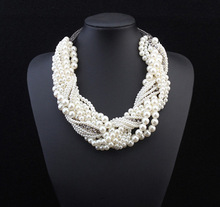 new European and American fashion retro exaggerated multilayer woven white pearl necklace wholesale 12 pcs/lot